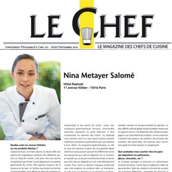 Nina Métayer dans le magazine Le Chef, spécial Pâtissières